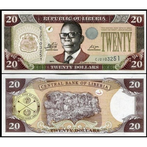 20 долларов 2011 год Либерия