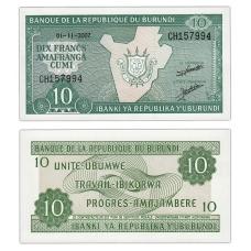 10 франков 2007 Бурунди