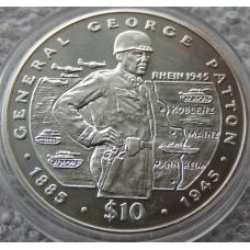 10 Долларов 1995 г Генерал Джордж Паттон Либерия