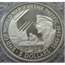 5 Долларов 1995 г 50 лет Конец Второй Мировой Войны в Тихом Океане Соломоновы Острова