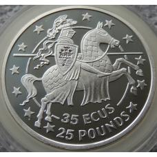 35 Экю 25 Фунтов 1992 г Рыцарь Гибралтар