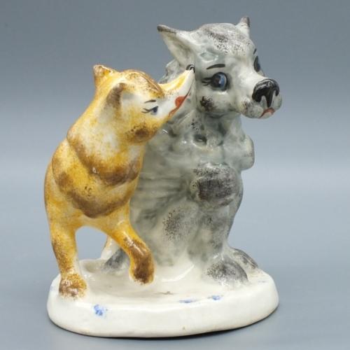 Фарфоровая статуэтка Лисичка-сестричка и серый волк