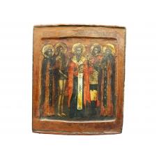 Икона ковчежная избранных Святых Филиппа,Онуфрия, Антипия, Иоанн Воин, Петр Царевич