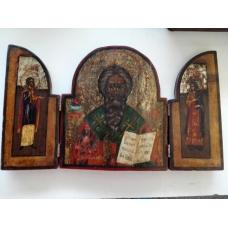 Икона складень деревянный Трёхчастная Антипий покровитель зубных врачей