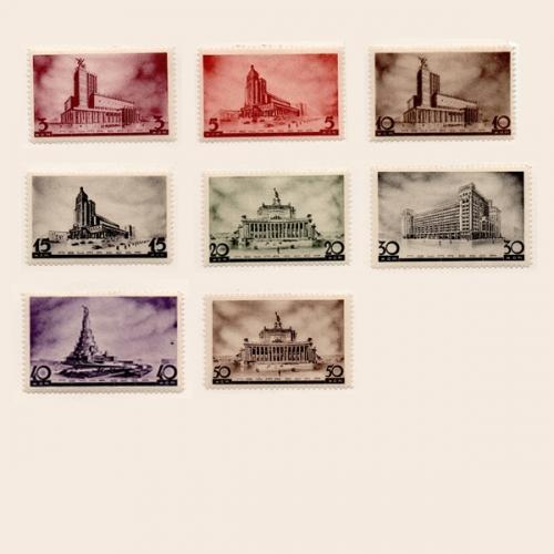 Архитектура новой Москвы, серия 8 марок 1937 г.