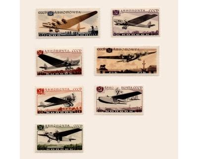Серия марок Авиапочта, самолеты СССР,  1937 г. 7 шт.