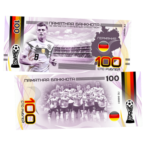 Пластиковая банкнота  100 рублей Футбол Чемпионат мира 2018 Германия Марко Ройс