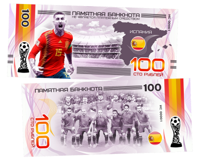 Пластиковая банкнота 100 рублей Футбол Чемпионат мира 2018 Испания Фернандо Торрес