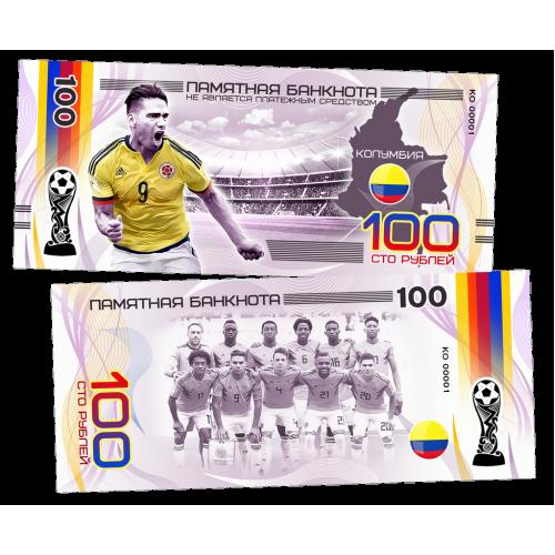 Пластиковая банкнота 100 рублей Футбол Чемпионат мира 2018 Колумбия Фалькао