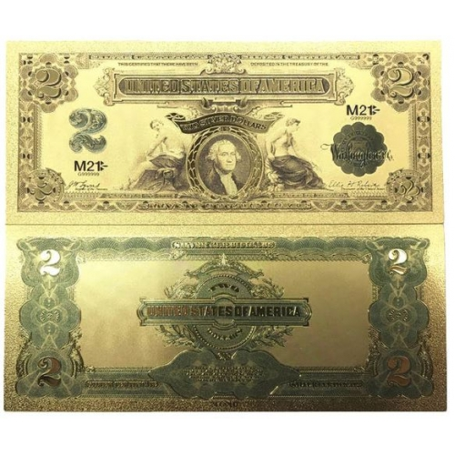 Золотая банкнота Сертификат Серебряный 2 Доллара США