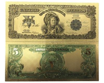 Золотая банкнота Сертификат Серебряные 5 Долларов США Вождь
