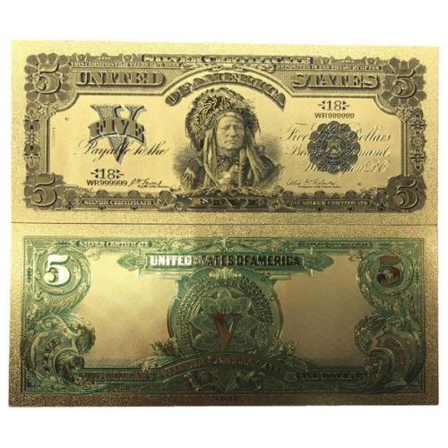 Золотая банкнота Сертификат Серебряные 5 Долларов США Вождь Индеец