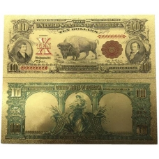 Золотая банкнота Сертификат Серебряные 10 Долларов США БИЗОН