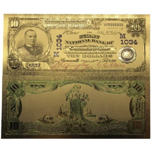 Золотая банкнота 10 Долларов Чарльстон США