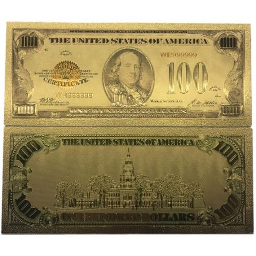Золотая банкнота Сертификат 100 Долларов США