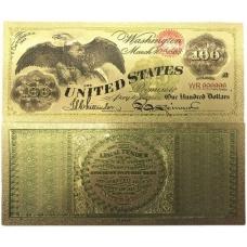 Золотая банкнота Сертификат 100 долларов США Орел