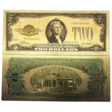 Золотая банкнота Сертификат 2 Доллара США