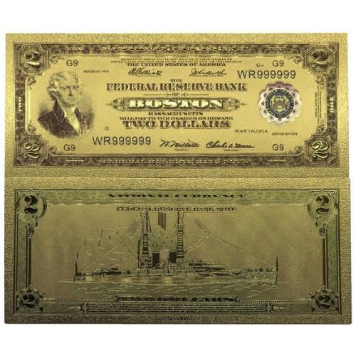 Золотая банкнота Сертификат Бостон 2 Доллара США
