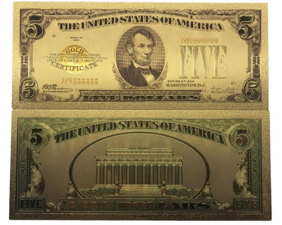 Золотая банкнота Сертификат 5 Долларов США