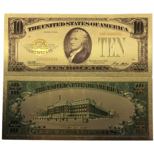 Золотая банкнота Сертификат 10 Долларов США
