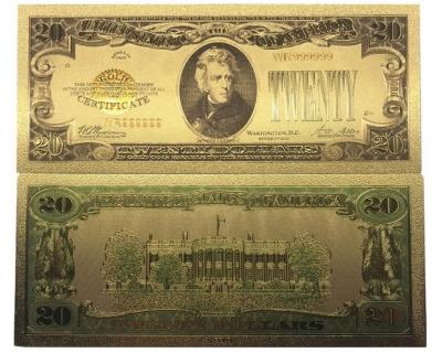 Золотая банкнота Сертификат 20 Долларов США