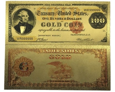 Золотая банкнота 100 Долларов США