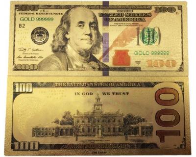 Золотая банкнота 100 Долларов Новые США