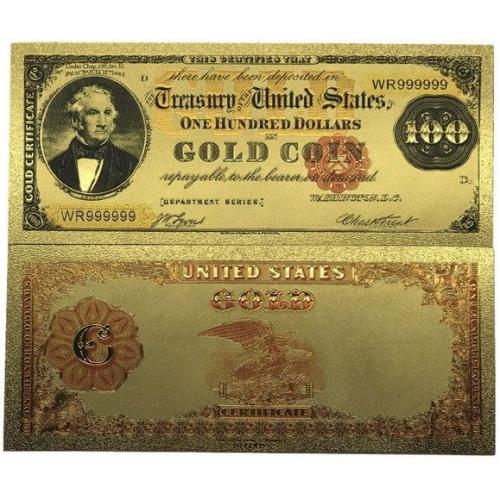 Золотая банкнота Золотой Сертификат 100 Долларов США