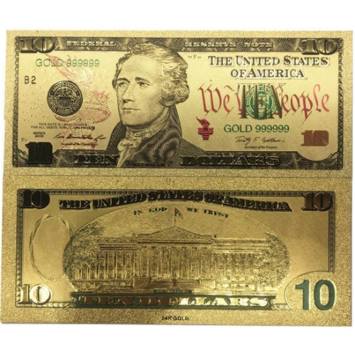 Золотая банкнота 10 Долларов США