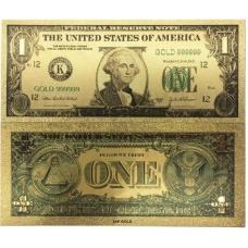 Золотая банкнота 1 Доллар США