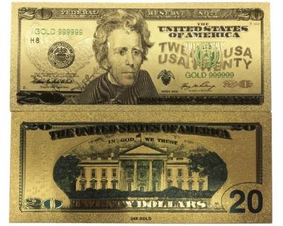 Золотая банкнота 20 Долларов США