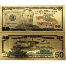 Золотая банкнота 50 Долларов США