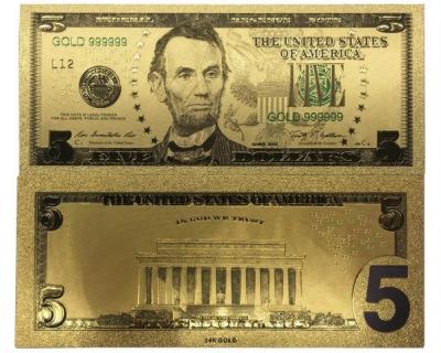 Золотая банкнота 5 Долларов США
