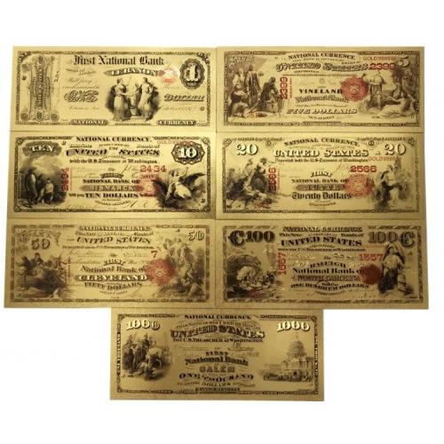 Золотые банкноты Сертификат национального банка 1-1000 долларов США